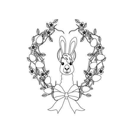 Easter llama outline on the white background. Vector illustration
