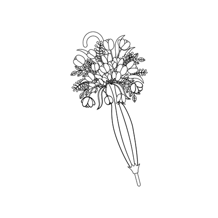Spring flowers in umbrella outline on the white background. Vector illustration