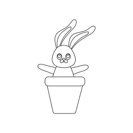 Easter Rabbit outline on the white background. Vector illustration