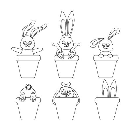 Easter Rabbit outline on the white background. Vector illustration