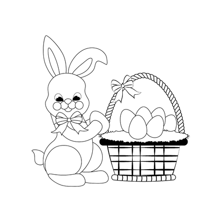 Easter rabbit with basket outline on the white background. Vector illustration