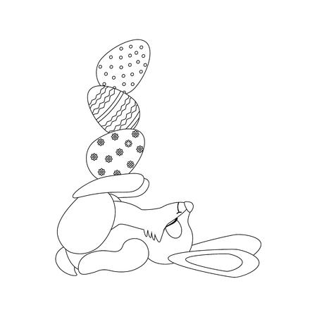 Easter rabbit with eggs outline on the white background. Vector illustration Ilustração