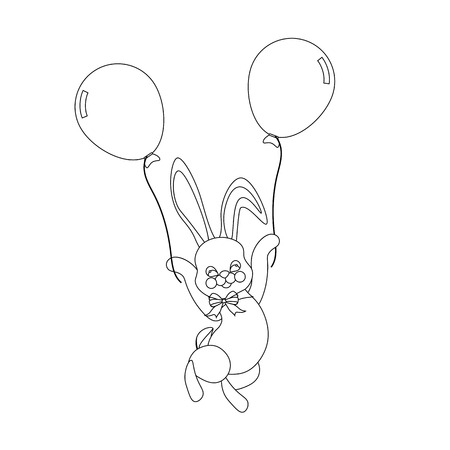 Easter bunny with balloons outline on the white background. Vector illustration