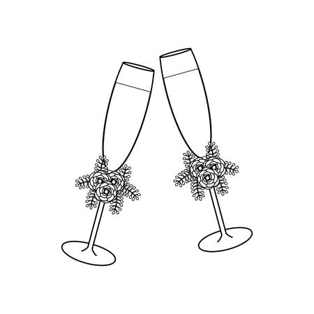 Wedding glasses with champagne outline on the white background. Vector illustration Ilustração