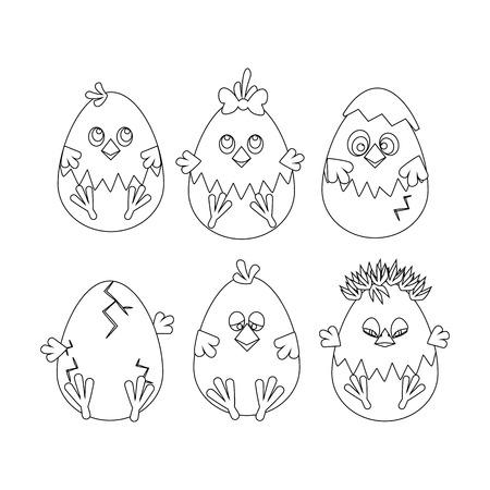 Chicken Easter outline on the white background. Vector illustration Ilustração