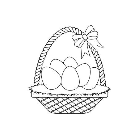Easter Basket With Eggs outline on the white background. Vector illustration Ilustração