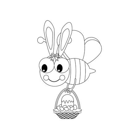 Easter bee with basket outline on the white background. Vector illustration Ilustração