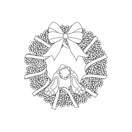 Easter wreath and rabbit outline on the white background. Vector illustration