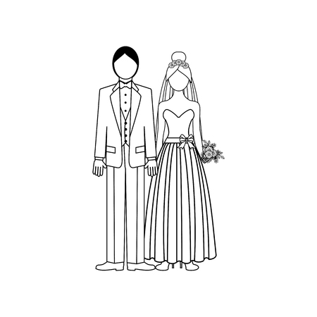 Wedding couple outline on the white background. Vector illustration