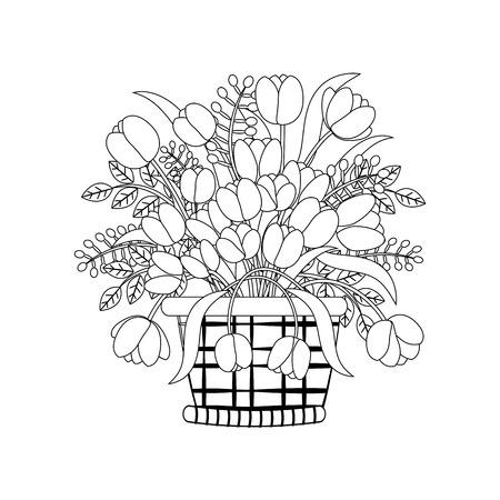 Flowers in basket outline on the white background. Vector illustration