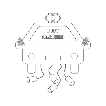 Just Married car outline on the white background. Vector illustration