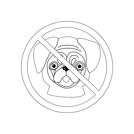 No dog entry icon outline on the white background. Vector illustration Banque d'images - 123725659