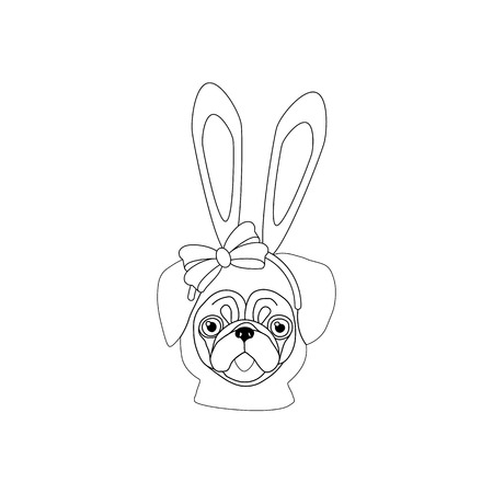 Pug with rabbit ears outline on the white background. Vector illustration Ilustração