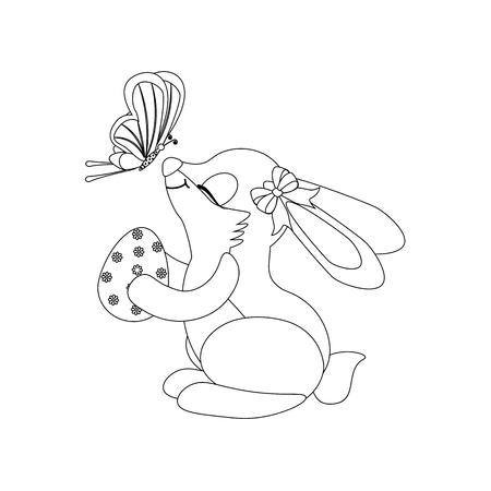 Rabbit with egg and butterfly outline on the white background. Vector illustration Ilustração