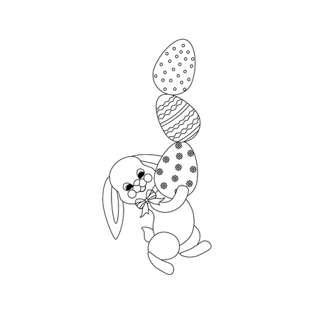 Rabbit with eggs outline on the white background. Vector illustration
