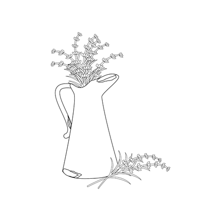 Rusty jug with lavender outline on the white background. Vector illustration