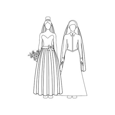 Same sex wedding outline on the white background. Vector illustration