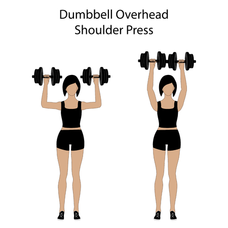 Dumbbell overhead shoulder press exercise on the white background. Vector illustration