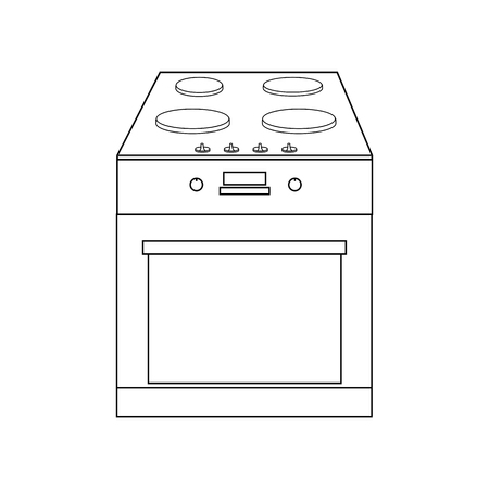 Oven illustration outline on the white background. Vector illustration