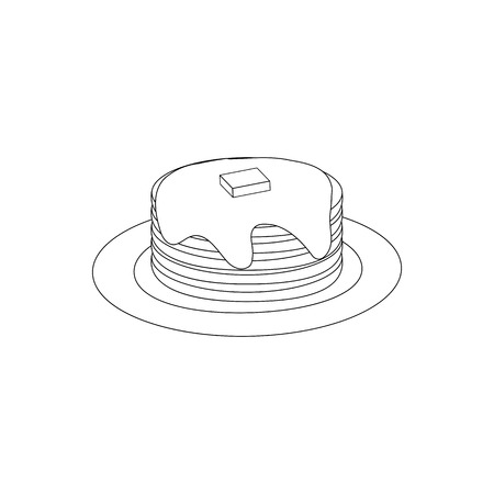 Pancakes Breakfast Food outline on the white background. Vector illustration