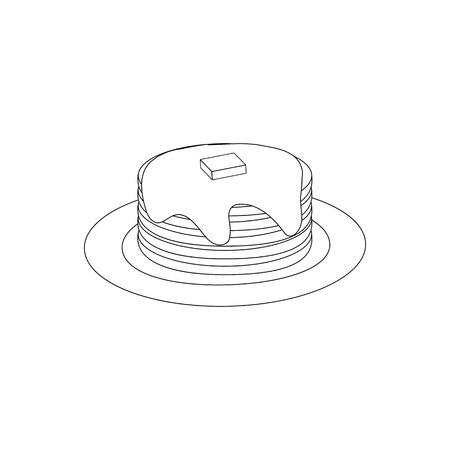 Pancakes Breakfast Food outline on the white background. Vector illustration