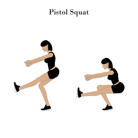 Pistol squat exercise on the white background. Vector illustration