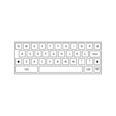 Keyboard icon outline on the white background. Vector illustration