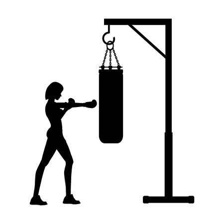 Boxing workout illustration silhouette on the white background. Vector illustration