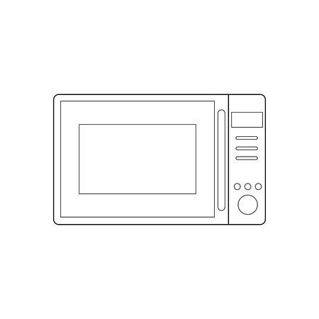 Microwave Oven outline on the white background. Vector illustration Ilustração