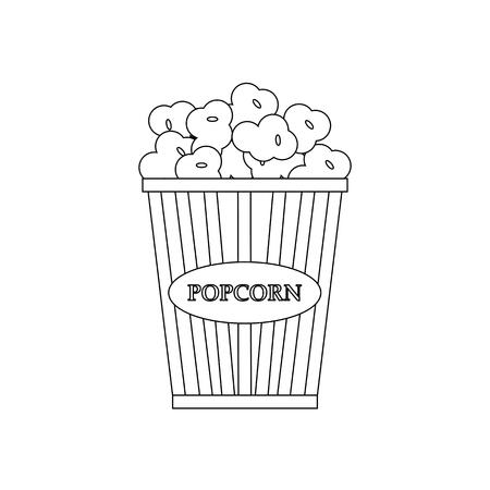 Popcorn illustration outline on the white background. Vector illustration Illustration
