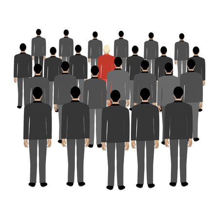 Crowd against personality on the white background. Vector illustration