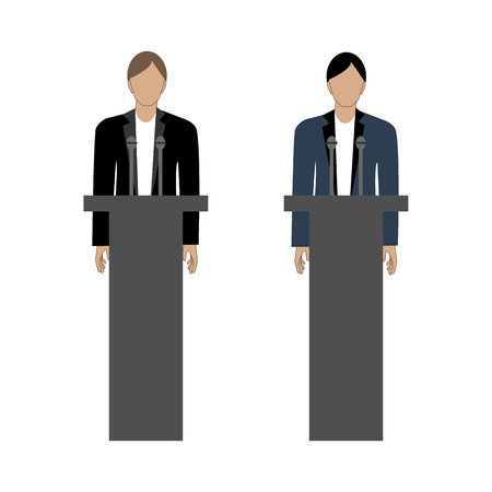 Debates of political opponents on the white background. Vector illustration