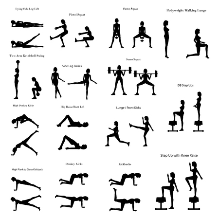 Legs workout exercise illustration silhouette on the white background. Vector illustration