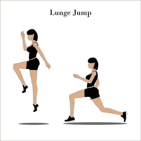 Lunge Jump exercise on the white background. Vector illustration
