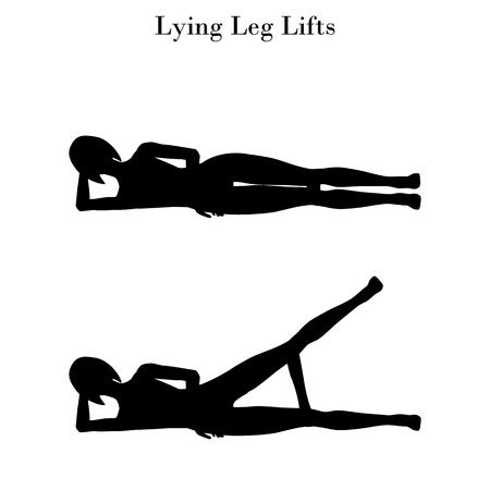 Lying leg lifts exercise silhouette on the white background. Vector illustration Illustration