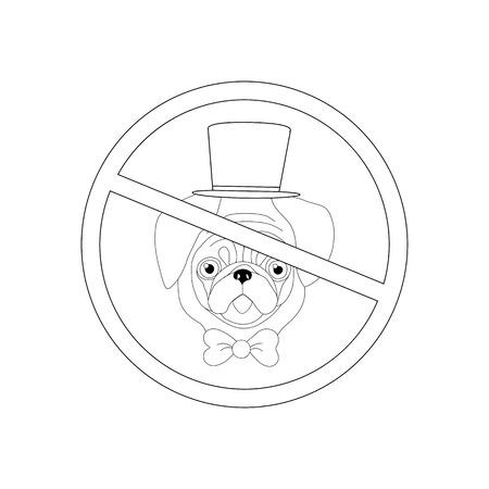 No dog entry outline on the white background. Vector illustration Banque d'images - 122937545