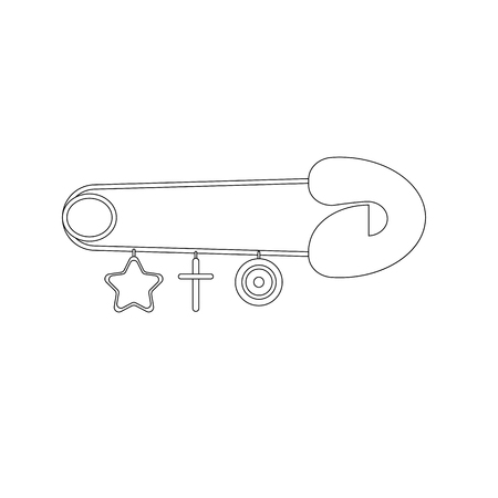 Pin for baby outline on the white background. Vector illustration