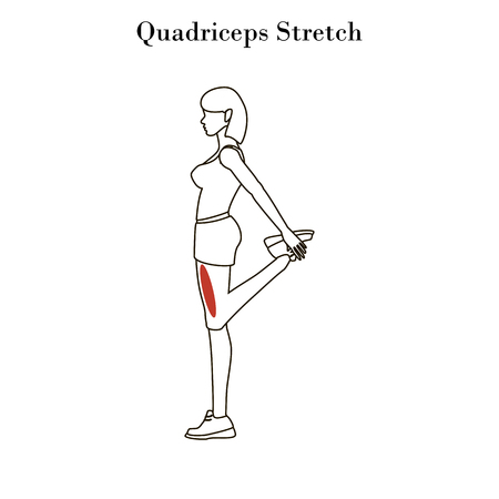 Quadriceps stretch exercise outline on the white background. Vector illustration
