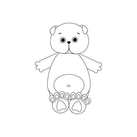 Scottish Fold Cat Toy outline on the white background. Vector illustration
