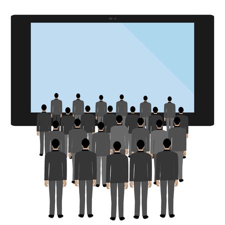 TV influence on a person on the white background. Vector illustration