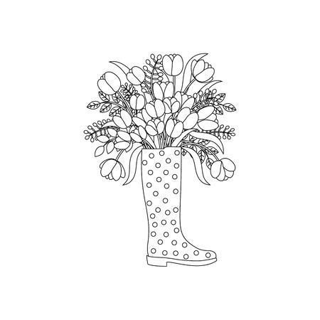 Spring flowers outline on the white background. Vector illustration