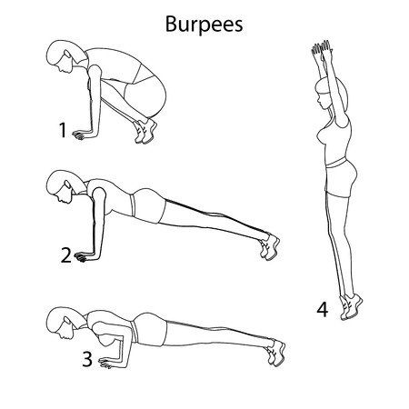 Burpees exercise outline on the white background. Vector illustration