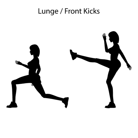 Lunge front kicks exercise silhouette on the white background. Vector illustration Illustration