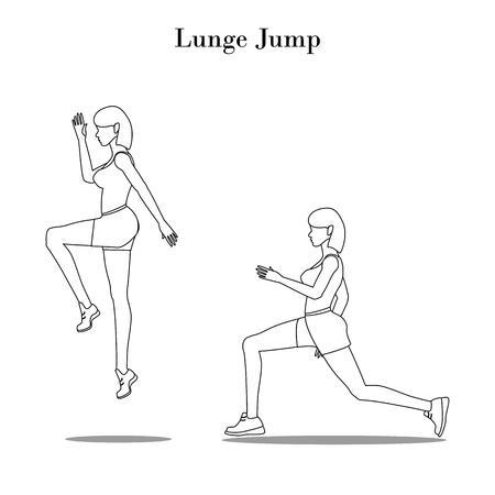 Esquema del ejercicio Lunge Jump sobre el fondo blanco. Ilustración vectorial
