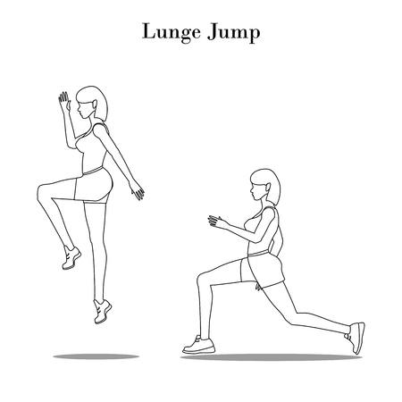 Lunge Jump exercise outline on the white background. Vector illustration
