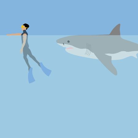 Shark attack illustration on the blue background. Vector illustration