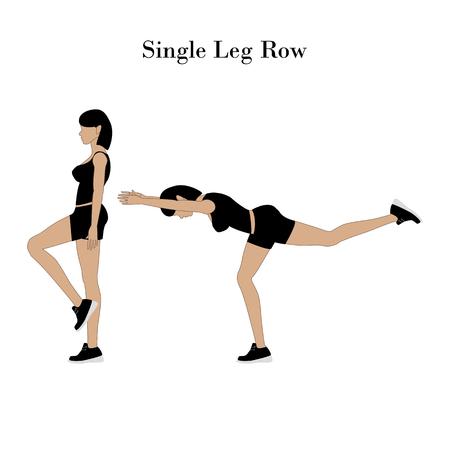 Single leg row exercise on the white background. Vector illustration
