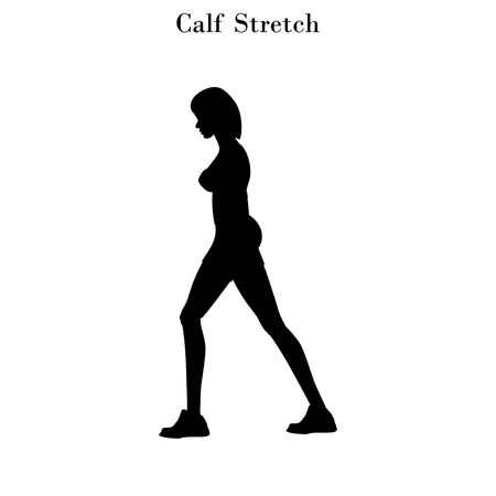 Calf stretch exercise silhouette on the white background. Vector illustration Ilustrace