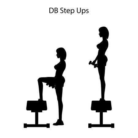 DB step ups exercise silhouette on the white background. Vector illustration