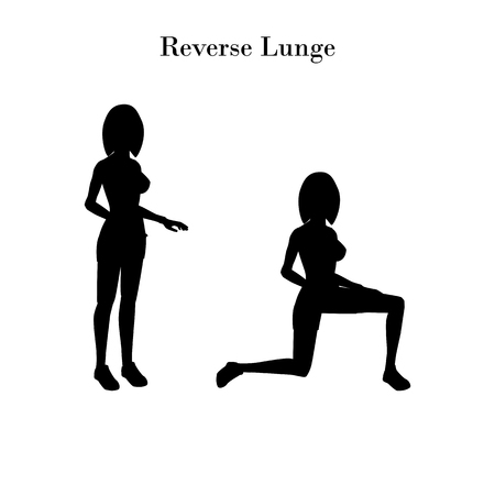 Reverse lunge exercise silhouette on the white background. Vector illustration